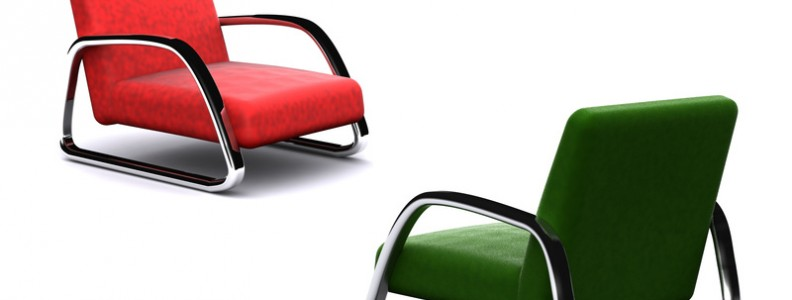 two different colores armchairs. 3D